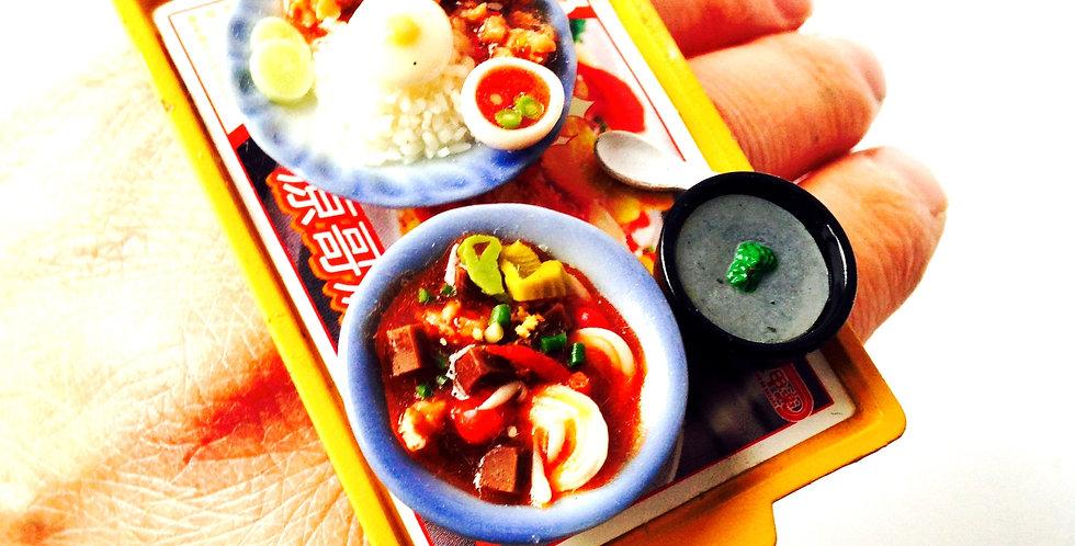 Bague J'AI TRÈS TRÈS FAIM, ou le p'tit self asiatique, nourriture miniature