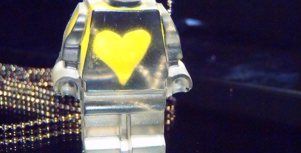 Sautoir PROLÉGOMÈNE DU FUTUR, transparent, coeur jaune