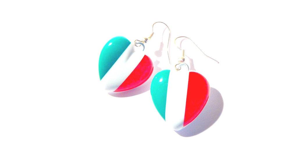 Boucles d'oreilles VACANCES EN ITALIE, coeur drapeau italien