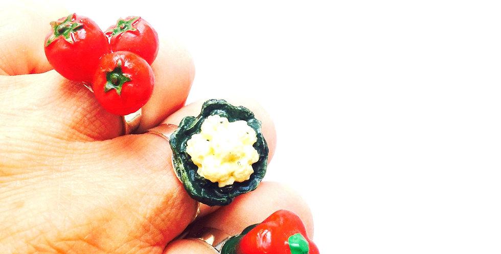 Bague triple, ORGANIC GROWTH, petits légumes bio bague maraîchère