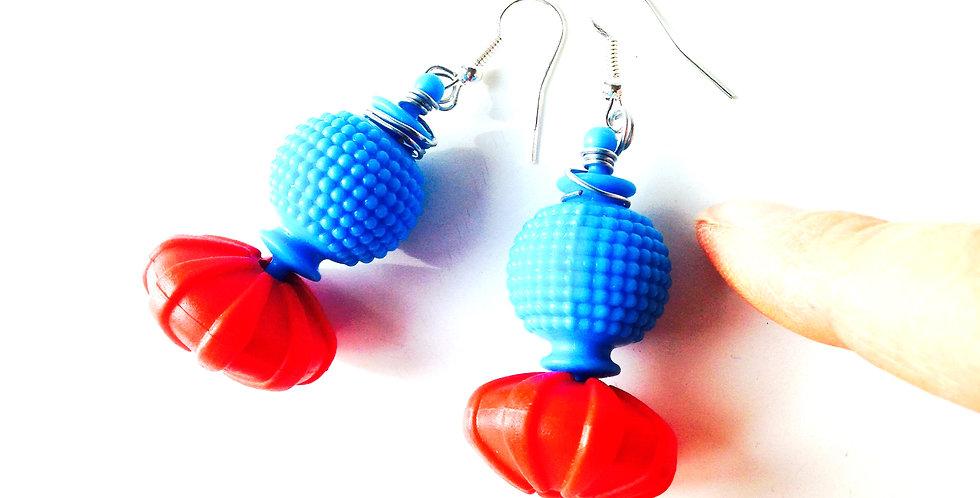 Boucles d'oreilles COLORBLOCK bleues / rouge