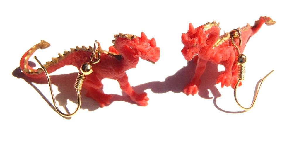 Boucles d'oreilles DRAGON DE CHINE, rouge et or