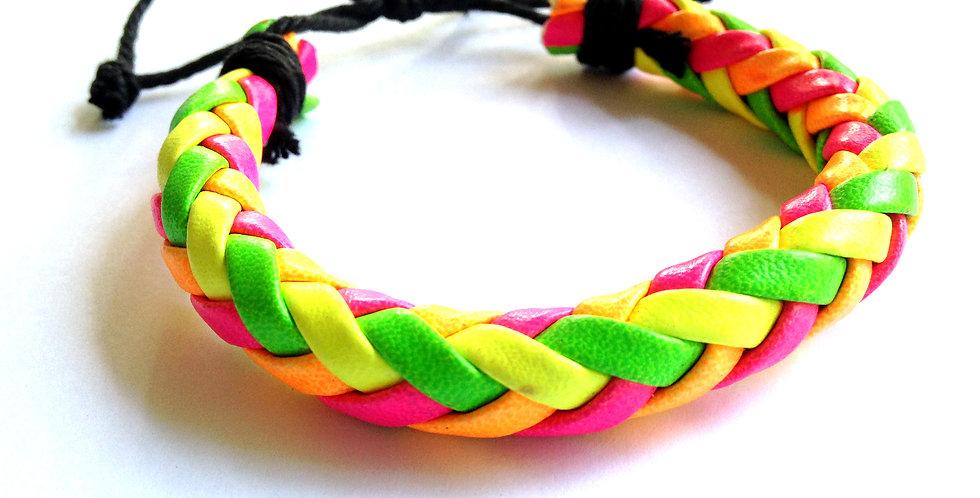 Bracelet NEON, tressé multicolore fluo