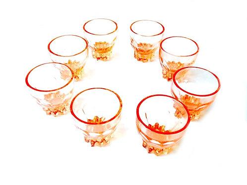 Verres à liqueur roses, set de 8, vintage