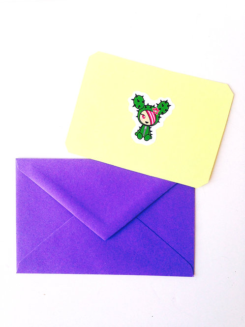 Carte simple papier jaune sticker cactus enveloppe mauve