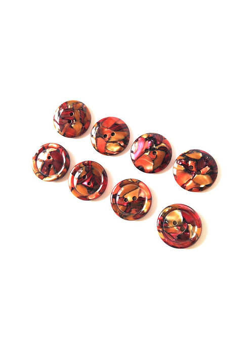 Boutons - 8 très beaux boutons vintage, nacrés mosaïque rouge, marron, caramel