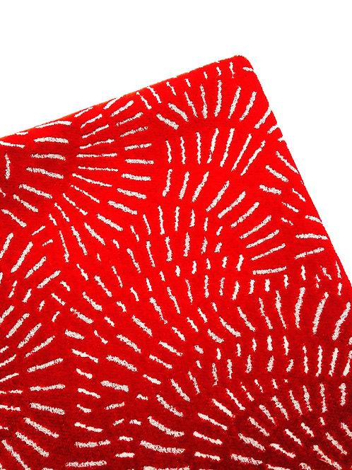 Coupon de velours gaufré à motifs, rouge 175 x 60
