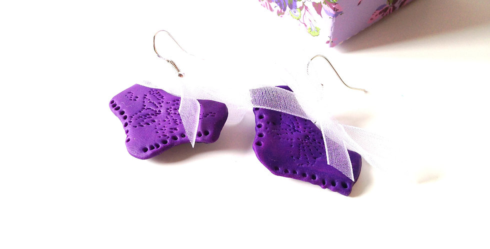 Boucles d'oreilles LES VIOLETTES, petites culottes miniatures