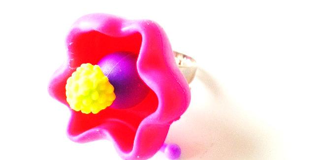 Bague COLORBLOCK, perles plastiques, rose, jaune, violet, bague ajustable