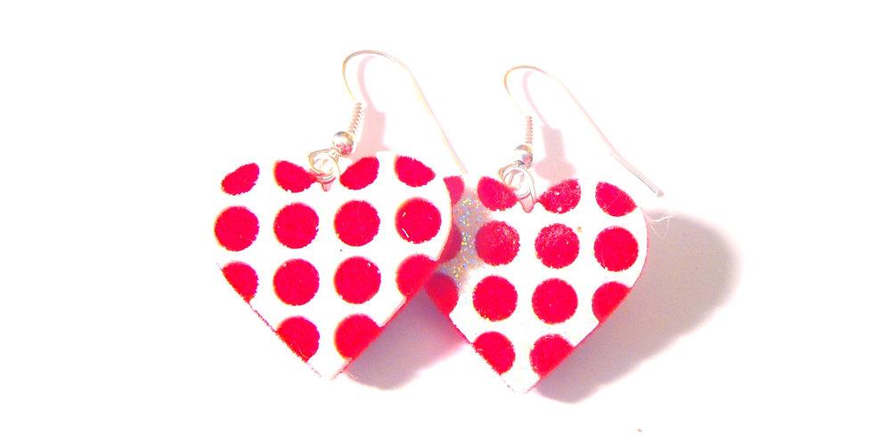 Boucles COEUR À COEUR, polka dots, pois rouges