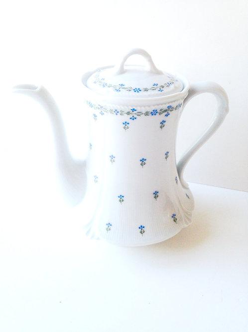 Théière ROYAL LIMOGES, Saint Germain, pièce rare, fleurs bleues porcelaine fine
