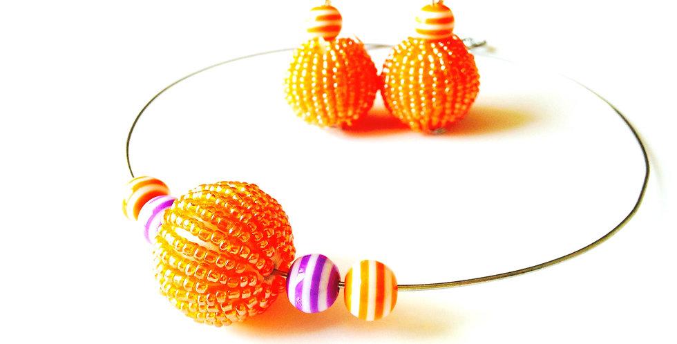 Parure BEAUTÉ, ABRICOTÉE, en perles tissées, orange