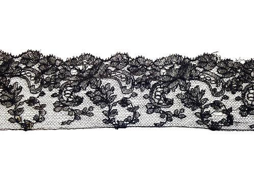 Ourlet de dentelle noire déjà cousu, pour robe, légers défauts, 6 x 55 cm (110)