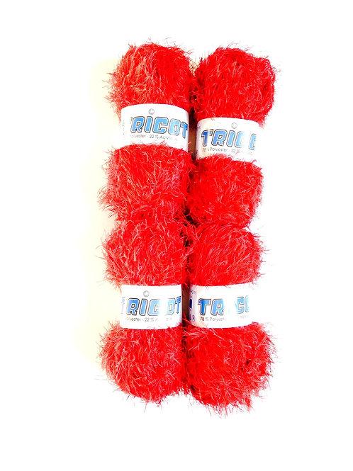 4 pelotes de laine fantaisie tricot mélangée, rouge, Polyester / Acrylique