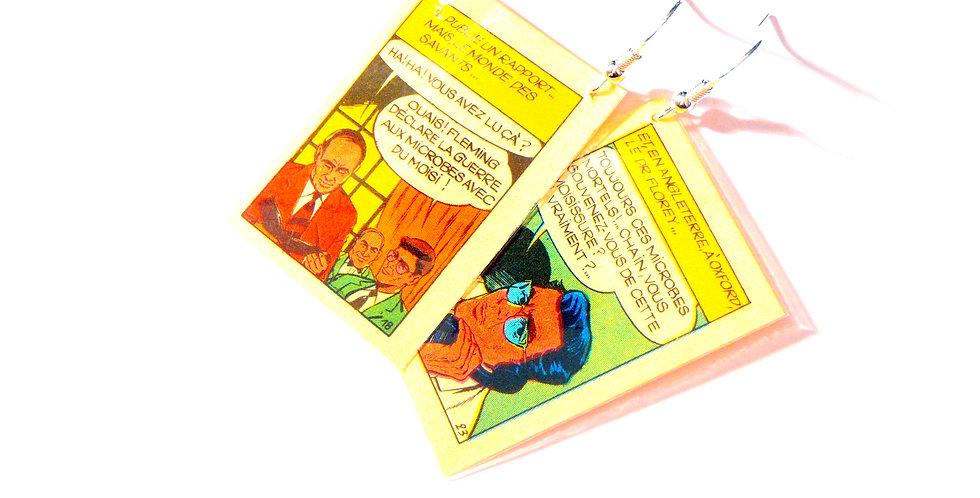 Boucles d'oreilles BD vintage, années 60