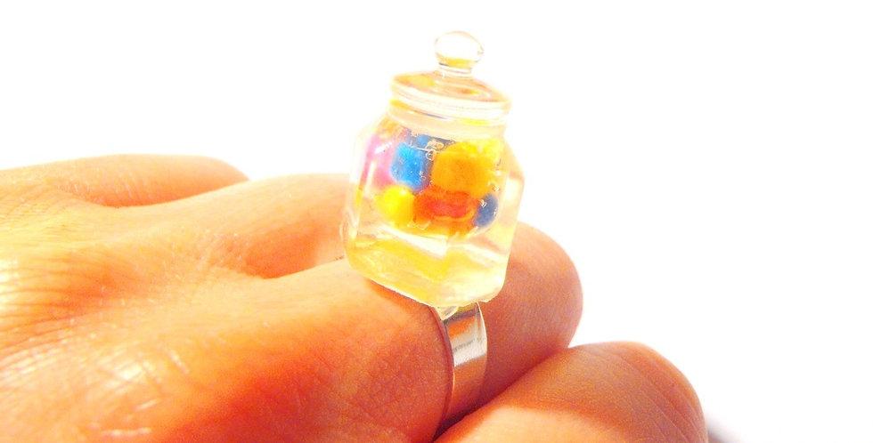 Bague LE MINI BOCAL DE BONBONS, miniature, ajustable