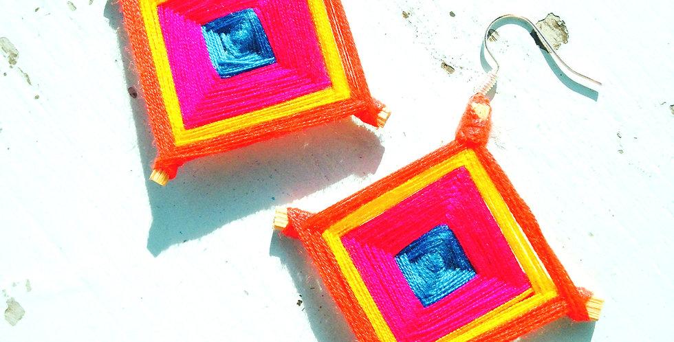 Boucles d'oreilles KITE, rose fuchsia, jaune, orange
