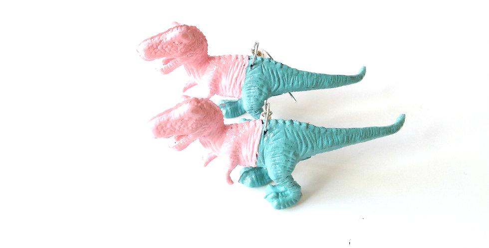 Boucles d'oreilles LES DINOPASTELS, dinosaures rose / bleu
