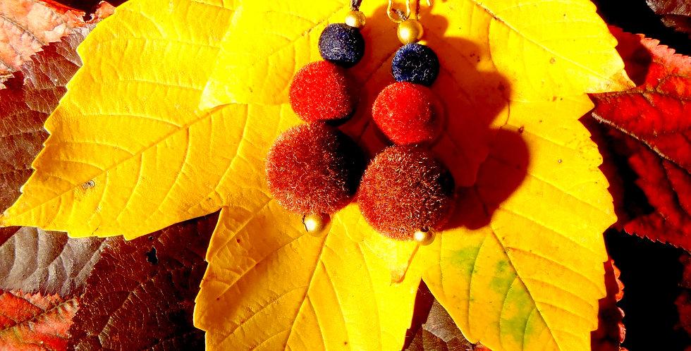 Boucles d'oreilles L'AUTOMNE, perles douces bordeaux
