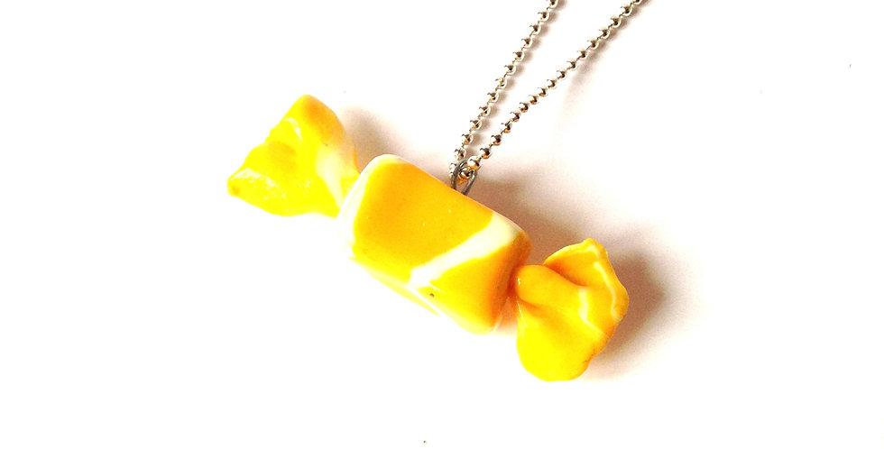 Sautoir LE BONBON, jaune, chaîne argentée