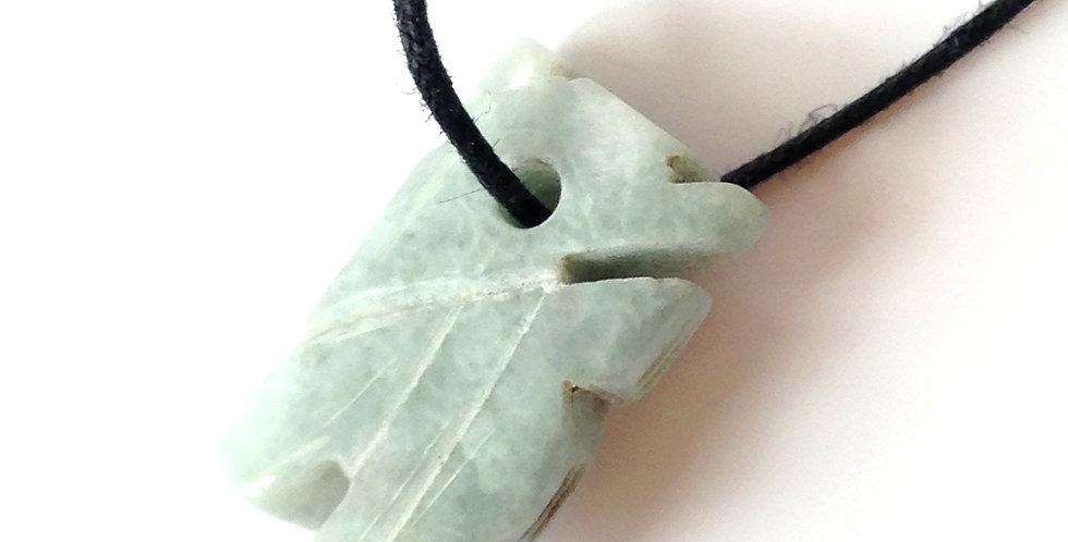 Collier à nouer MYANMAR, pendentif en jade, coton ciré