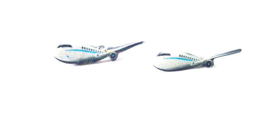 Puces d'oreilles LA P'TITE ESCAPADE, avions miniatures avec paillettes.