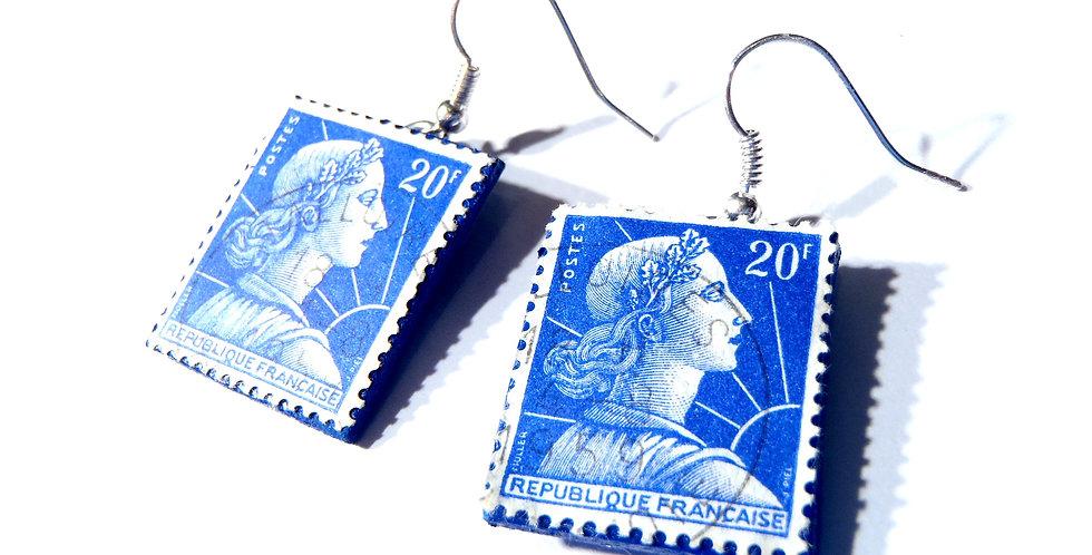 Boucles d'oreilles TIMBRES vintage, bleu Klein