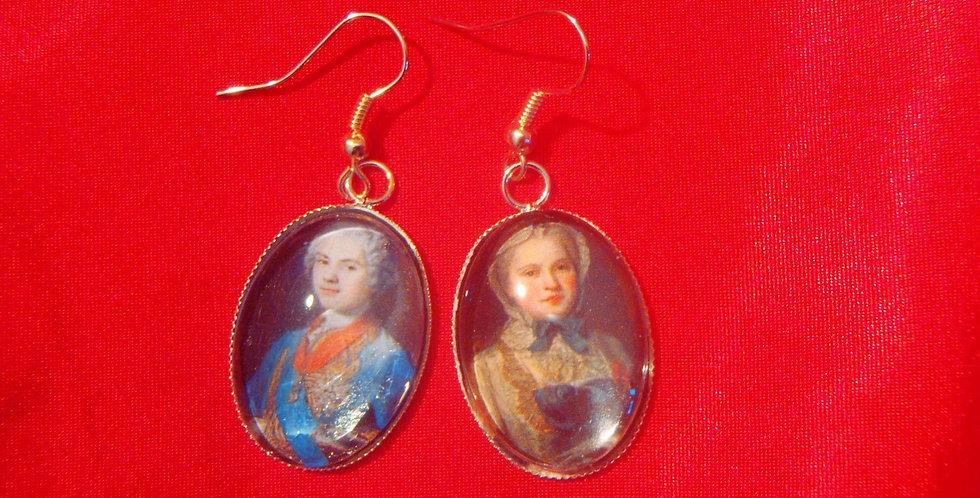 Boucles d'oreilles LES COUPLES CÉLÈBRES, Louis de France Marie Josephe de Saxe