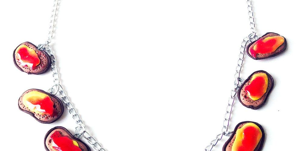 Collier plastron LE THÉ de la GOURMANDE, tartines de confiture miniatures