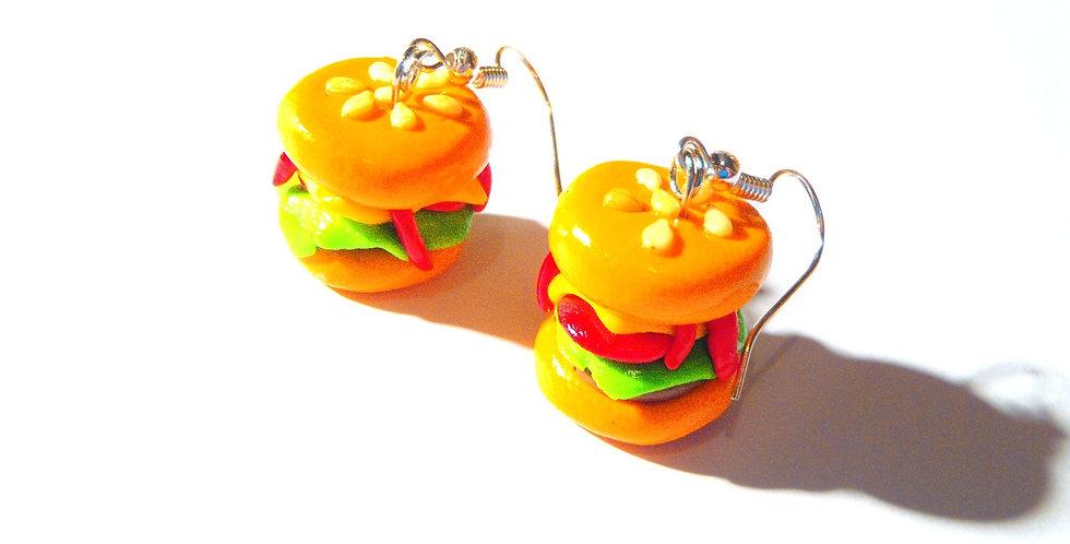 Boucles d'oreilles ICH BIN EIN HAMBURGER, hamburger miniature par saucisse