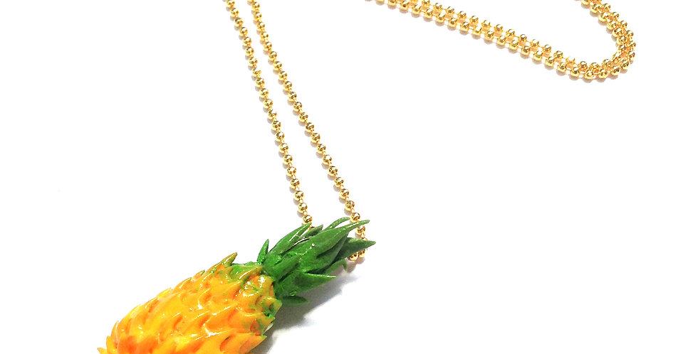 Collier mi-long doré MADAME ANANAS, ananas miniature