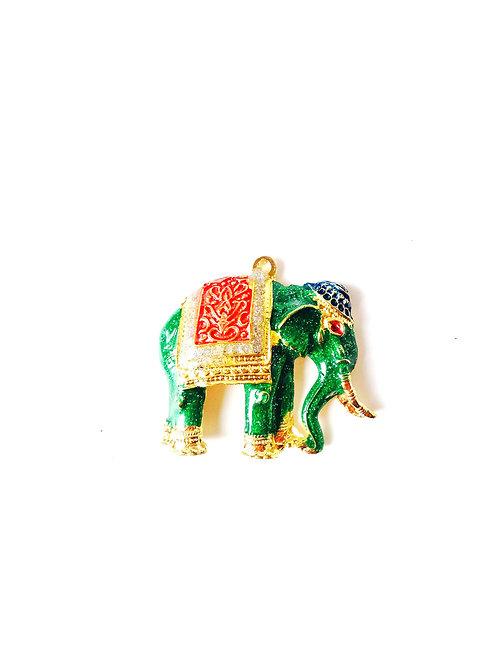 Pendentif thaï éléphant émaillé, doré et vert