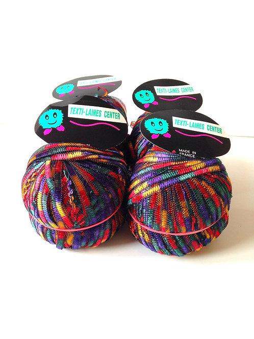 Lot de 4 pelotes de fil SERPENTINE, MULTICOLORE, viscose / polyester, à tricoter