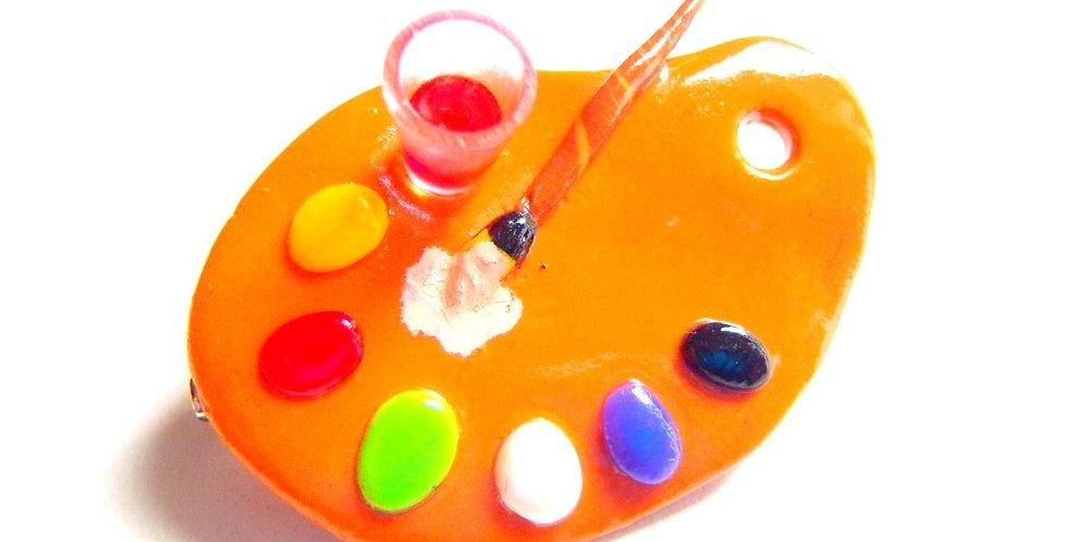 Broche LA PALETTE, multicolore, fimo