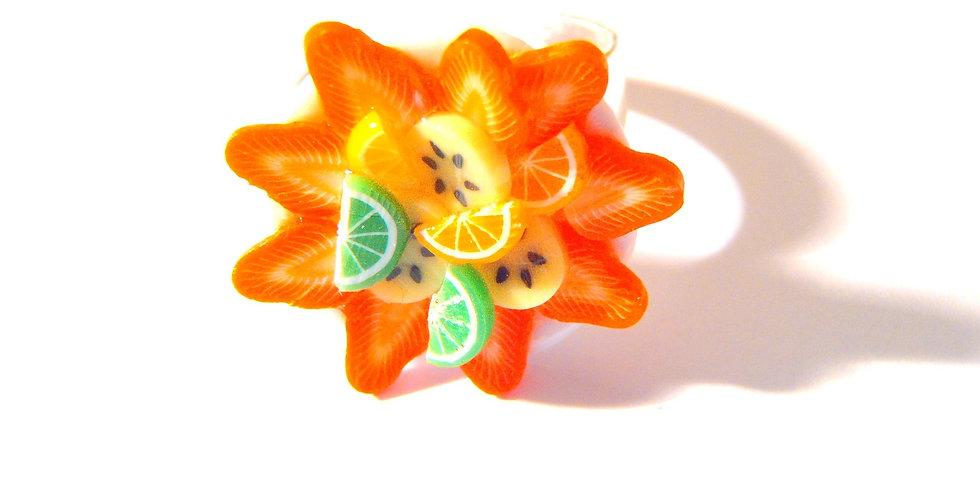 Bague SALADE DE FRUITS, jolie, fruits miniatures