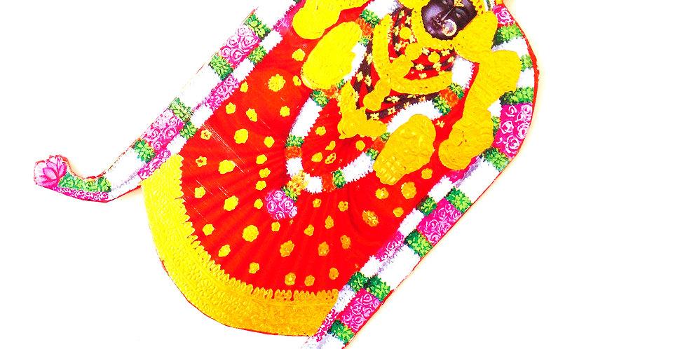 Sautoir HINDOU, pendentif géant rouge et or