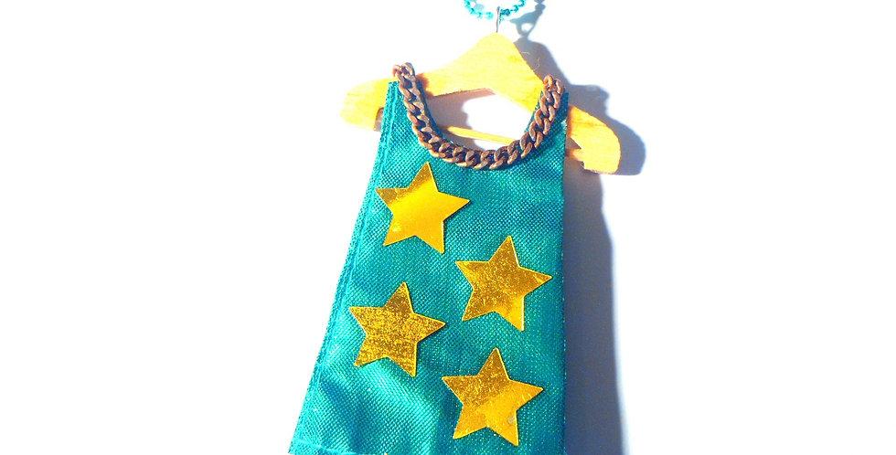 Sautoir LA ROBETTE ÉTOILÉE, verte satinée, avec étoiles dorées