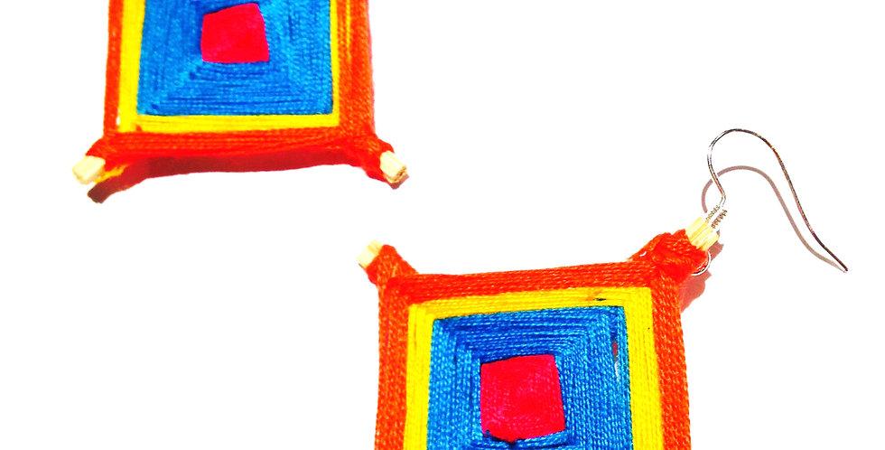 Boucles d'oreilles KITE, orange et bleu