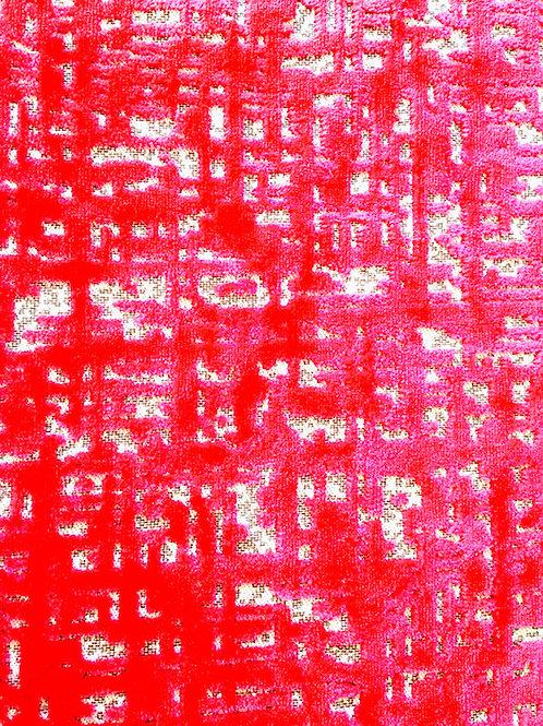 Tissu en velours rose fuchsia gaufré petit morceau, 38 x 55 cm