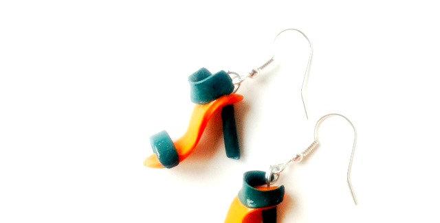 Boucles d'oreilles LES MINI STILETTOS, orange, bleu canard, chaussure miniature