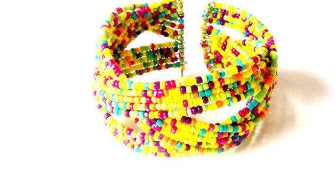 Bracelet ouvert JAUNE, MULTICOLORE, perles miyuki