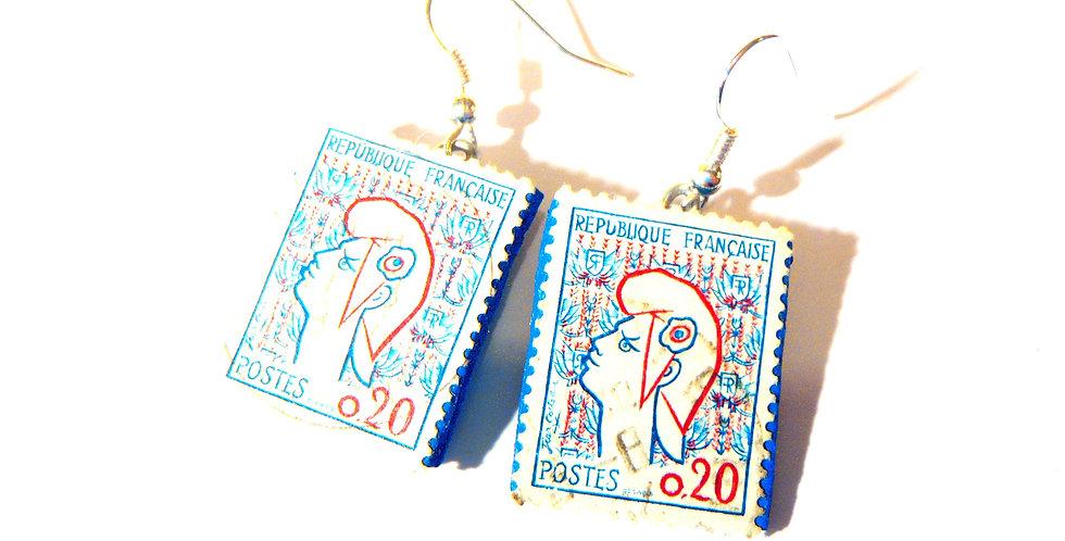 Boucles d'oreilles BELLE BLEUE, timbres vintage