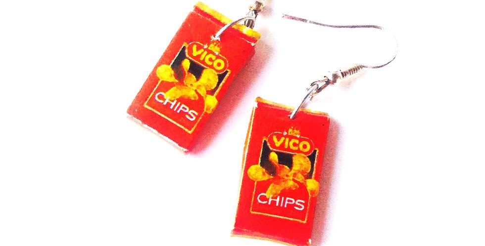 Boucles d'oreilles LES CHIPS, miniatures, paquets carrés rouges