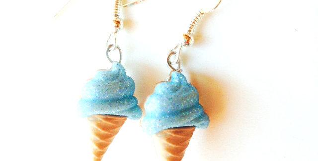 Boucles d'oreilles Les Glacettes-- MENTHE GLACÉE boutons en résine, paillettes