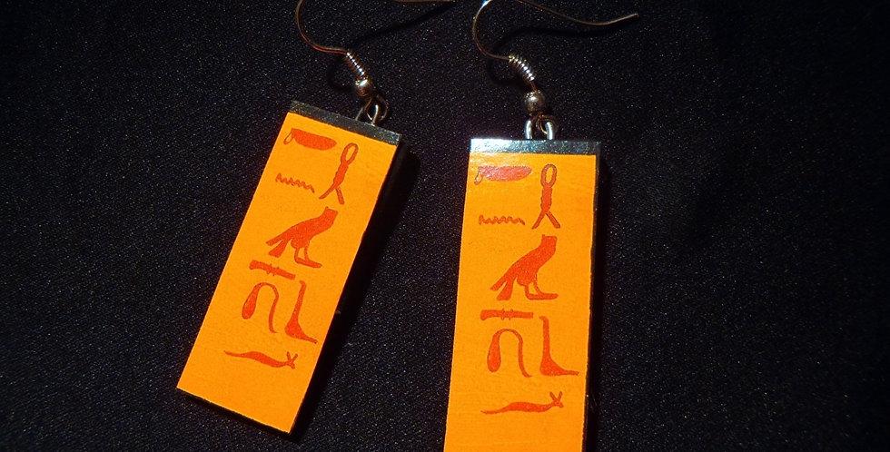 Boucles d'oreilles NÉFERTITI, hyéroglyphes