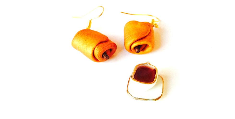 Boucles d'oreilles PAIN AU CHOCOLAT, miniatures