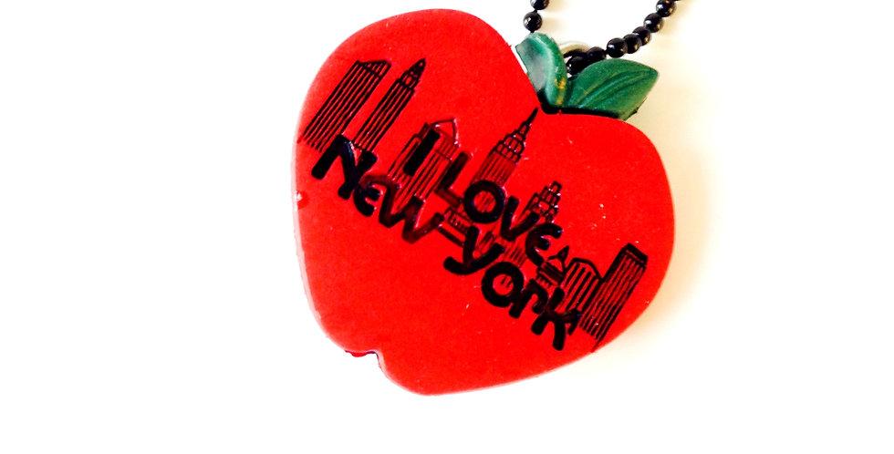Sautoir I LOVE NEW YORK, big apple, chaîne noire