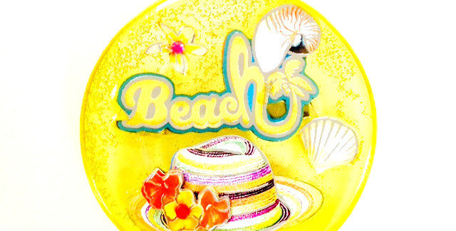 Broche BEACH, paillette, plage