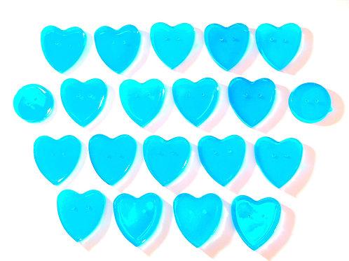 20 boutons coeur et ronds bleu turquoise en résine, SUR COMMANDE