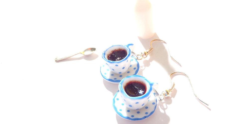 Boucles JE FAIS UNE PAUSE, café miniature